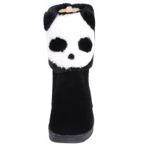 Color Block Panda Pattern Flock Snow Boots - BLACK 39