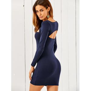 Slash Neck Long Sleeve Cut Out Bodycon Dress - BLUE M