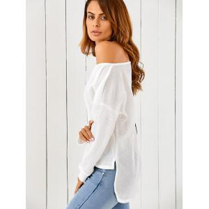 One-Shoulder Loose Sweater - WHITE XL