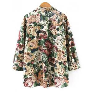 Vintage Floral Loose Shirt - GREEN L