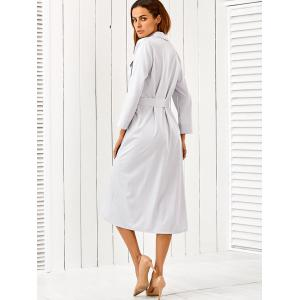 Button Up Long Sleeve Shirt Dress with Belt - LIGHT GRAY L