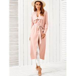 Draped Long Belted Duster Coat - PINK S