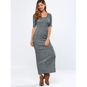 Elbow Sleeve Ribbed Sweater Maxi Dress -