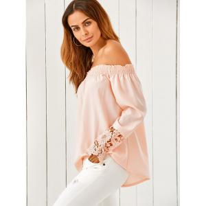 Off The Shoulder Lace Spliced Loose Blouse - NUDE PINK XL