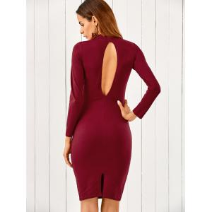 Mock Neck Long Sleeve Back Cutout Bodycon Pencil Dress - WINE RED S