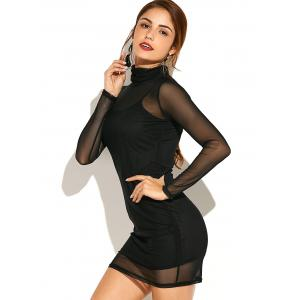 Turtleneck See-Through Long Sleeve Bodycon Dress with Cami Dress -