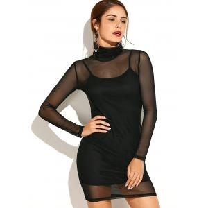Turtleneck See-Through Long Sleeve Bodycon Dress with Cami Dress - Black - M