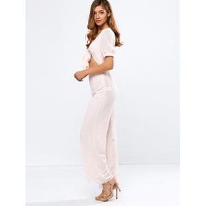 Plunging Neck Tied Cropped Wide Leg Jumpsuit -