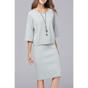 Ribbed Knitted Sweater and Knee Length Bodycon Skirt