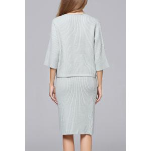 Ribbed Knitted Sweater and Knee Length Bodycon Skirt - GRAY ONE SIZE
