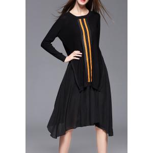 High Low Sweater Dress With Strap Dress - Black - L
