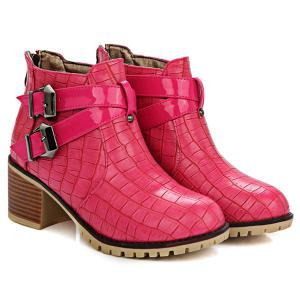 Embossed Plaid Pattern Double Buckle Ankle Boots -