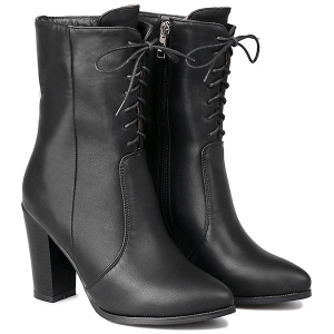 Zip Tie Up PU Leather Short Boots - BLACK 40