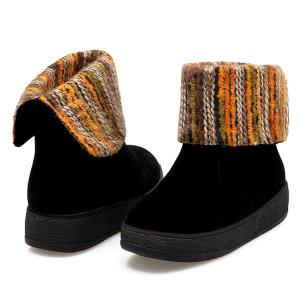 PU Leather Knitting Round Toe Snow Boots -