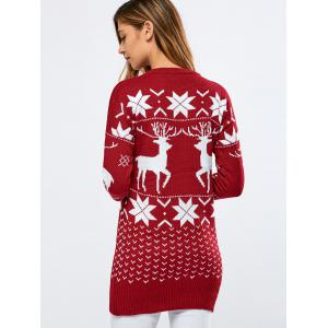 Long Printed Fuzzy Sweater - RED ONE SIZE