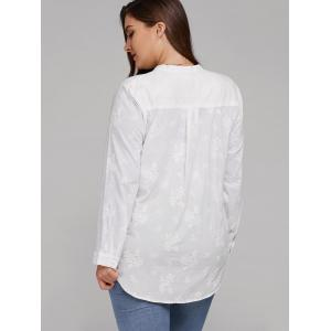 Plus Size Long Sleeve Floral Embroidered Shirt -
