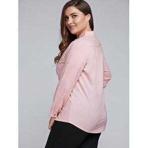 Plus Size Long Sleeve Embroidered Formal Shirt - LIGHT PINK 3XL