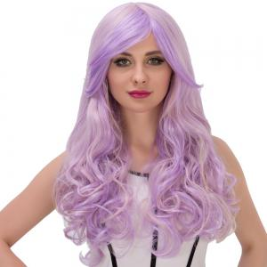 Long Fluffy Side Bang Wavy Purple Gradient Cosplay Synthetic Wig -