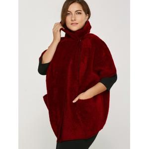 Plus Size Knitted Cardigan with Pocket - WINE RED ONE SIZE