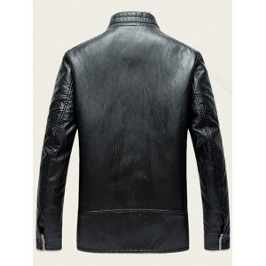Zippered Stand Collar Flocking Faux Leather Jacket -