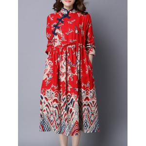 Drawstring Dragon Print Cheongsam Dress -