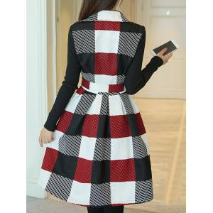 Lapel Collar Checked Wrap Coat -