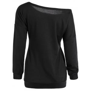 Halloween Skew Neck Sweatshirt - BLACK XL
