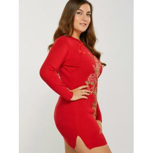 Vintage Plus Size Glitter Sequin Jumper Dress with Sleeves -