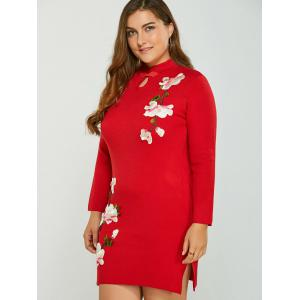 Vintage Long Sleeve Plus Size Sweater Dress - RED ONE SIZE
