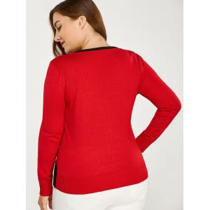 Color Block Buttoned Plus Size Sweater -