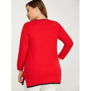 Side Slit Plus Size Sweater - RED ONE SIZE