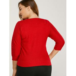 Three Quarter Sleeve Plus Size Sweater -