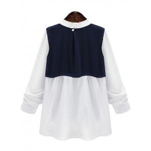 Plus Size Splicing Color Block Blouse - BLUE AND WHITE 5XL