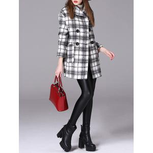 Checked Double-Breasted Woolen Coat -