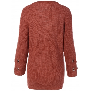 Lace-Up Loose Sweater - BRICK-RED ONE SIZE