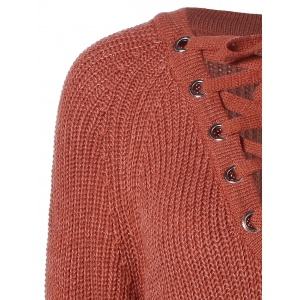 Lace-Up Loose Sweater - BRICK RED ONE SIZE