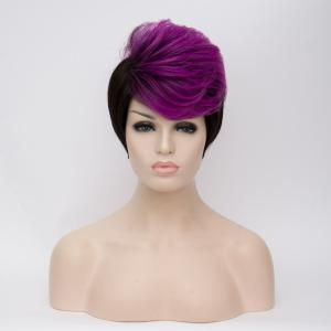 Short Fluffy Side Bang Straight Purple Highlights Synthetic Wig -