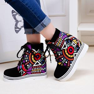 Splicing Geometric Pattern Tie Up Ankle Boots - PURPLE 40