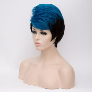 Short Fluffy Side Bang Straight Blue Highlights Synthetic Wig -