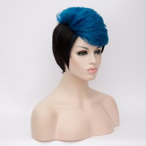 Short Fluffy Side Bang Straight Blue Highlights Synthetic Wig - BLUE/BLACK