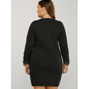 Long Sleeve Lace Splicing Plus Size Bodycon Dress - BLACK 4XL