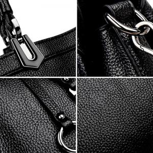 Pendant Textured PU Leather Handbag -