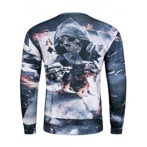 3D Devil Skeleton Poker A Print Long Sleeve Sweatshirt - GRAY 3XL