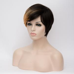 Short Fluffy Side Bang Straight Golden Brown Highlights Synthetic Wig - COLORMIX