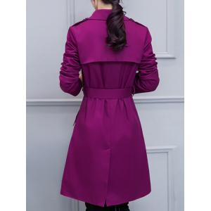 Double-Breasted Belted Trench Coat with Pocket - PURPLE M