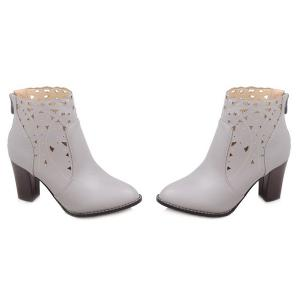 Cut Out Chunky Heel Ankle Boots - LIGHT GRAY 40
