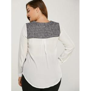 Long Sleeve Plaided Splicing Blouse - WHITE 5XL