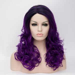 Ombre Long Side Parting Curly Synthetic Wig - COLORMIX