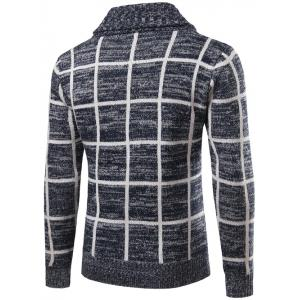 Turn-Down Collar Single-Breasted Checked Cardigan - CADETBLUE 2XL