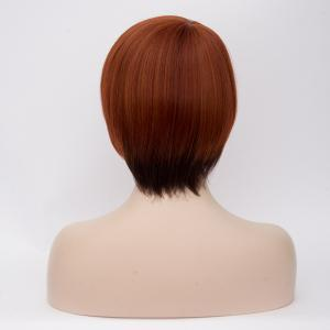 Prevailing Short Side Bang Straight Mixed Color Synthetic Wig -